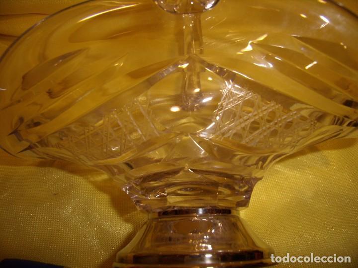 Antigüedades: Cesta cristal tallado de 24% plomo, pie plata, años 70, Nueva. - Foto 5 - 103426631