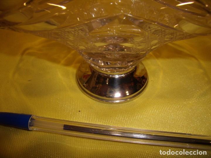 Antigüedades: Cesta cristal tallado de 24% plomo, pie plata, años 70, Nueva. - Foto 6 - 103426631