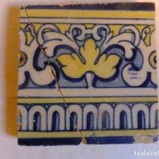 Antigüedades: AZULEJO DE TALAVERA ( TOLEDO) CON ROLEOS HOJA Y ARQUILLOS S.XVI. Lote 103453779