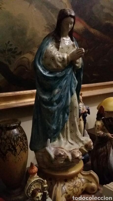 Antigüedades: Virgen inmaculada de cerámica de Triana más de 60 cm de altura - Foto 2 - 103458472