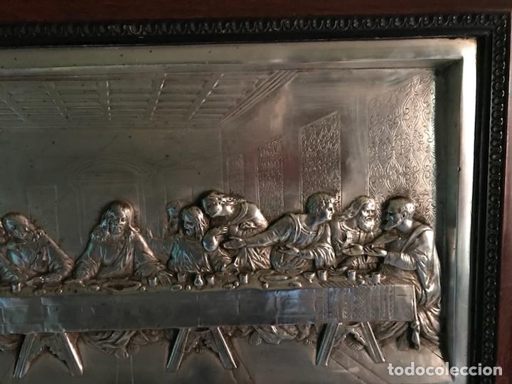 Antigüedades: Cuadro La ultima cena, plateado y antiguo - Foto 6 - 103502786