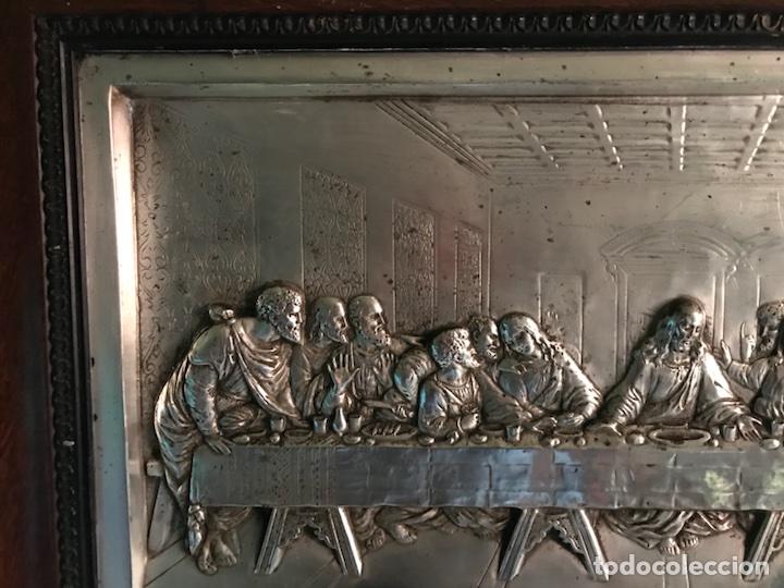 Antigüedades: Cuadro La ultima cena, plateado y antiguo - Foto 7 - 103502786