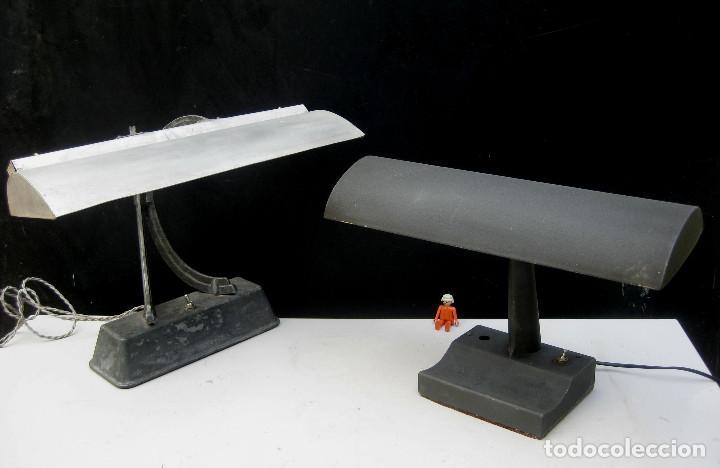 LAMPARA ANTIGUA ESCRITORIO BANQUERO ART NOUVEAU CLAUDE LUMIERE Y OTRA INDUSTRIAL (Antigüedades - Iluminación - Lámparas Antiguas)