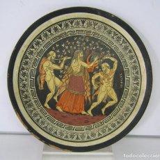 Antigüedades: BELLO PLATO GRIEGO CERAMICA ESCENA MITOLOGÍA GRECIA CLASICA - DIONISIO Y LOS SATIROS. Lote 103534999