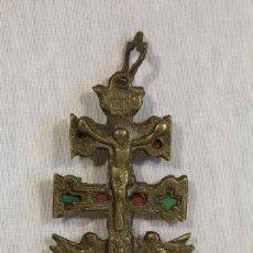 Antigüedades: CRUZ DE CARAVACA EN BRONCE. Lote 113881315