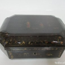 Antigüedades: ANTIGUA CAJA JOYERO - COSTURERO - CHINA - LACA NEGRA, CON MOTIVOS ORIENTALES - S. XIX. Lote 103554891