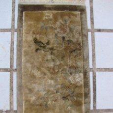 Antigüedades: ANTIGUA ALFOMBRA CHINA DE SEDA. PÁJAROS. ANUDADA A MANO. Lote 103570839