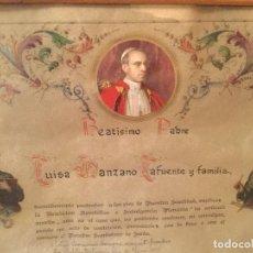 Antigüedades: DOCUMENTO DE BENDICIÓN APOSTÓLICA E INDULGENCIA PLENARIA DEL PAPA PIO XII. 1956. Lote 103599683