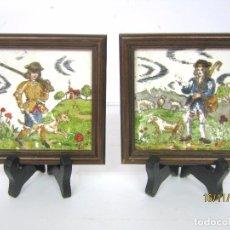 Antigüedades: ANTIGUAS PINTURAS AL OLEO SOBRE BALDOSAS - CAZADOR Y PASTOR. Lote 103633915