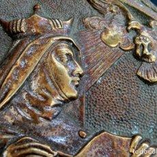 Antigüedades: ANTIGUA PIEZA RELIGIOSA - PLANCHA DE BRONCE - SANTA TERESA DE JESÚS - ORFEBRERÍA - TAMAÑO GRANDE. Lote 103662239
