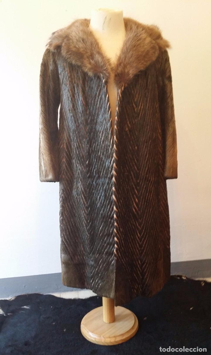 ABRIGO DE PIEL NATURAL (Antigüedades - Moda y Complementos - Mujer)
