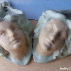 Antigüedades: PAREJA DE JARDINERAS MODERNISTAS DE PARED - ROSTROS FEMENINOS . Lote 103676707