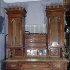 Antigüedades: GRAN MUEBLE DE COMEDOR ALFONSINO CON MESA Y SILLAS. Lote 103690515
