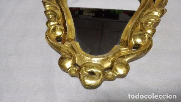 Antigüedades: ANTIGUA CORNUCOPIA ESPEJO DE MADERA TALLADA Y DORADA EN PAN DE ORO - Foto 4 - 103754439
