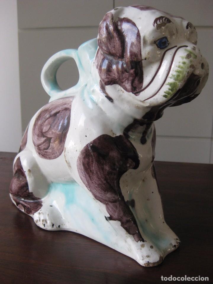 Antigüedades: Antiguo botijo Valenciano de Manises perro Bulldog - Foto 2 - 103763403