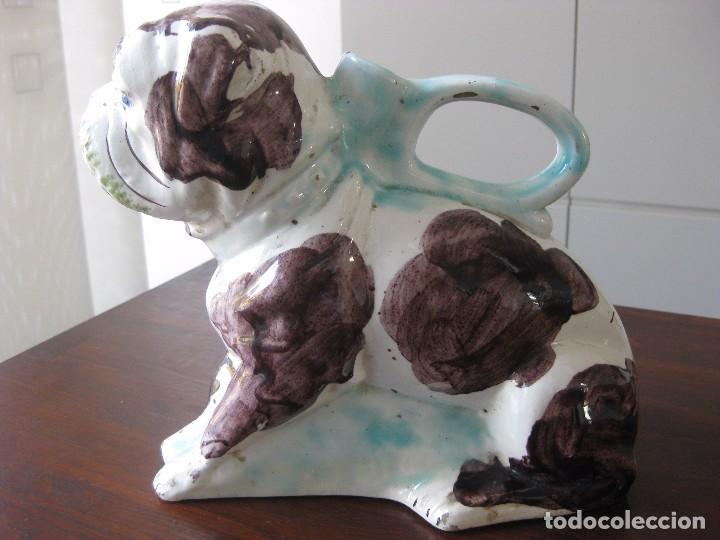 Antigüedades: Antiguo botijo Valenciano de Manises perro Bulldog - Foto 3 - 103763403