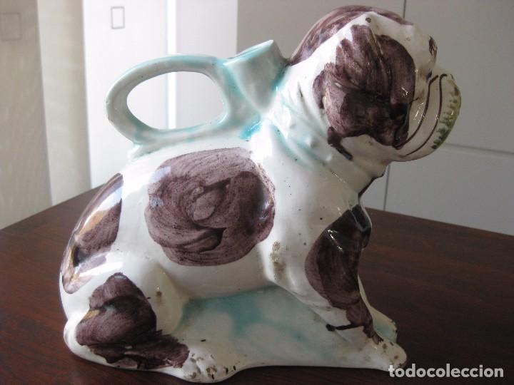 Antigüedades: Antiguo botijo Valenciano de Manises perro Bulldog - Foto 4 - 103763403