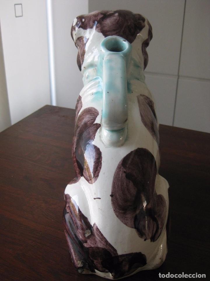 Antigüedades: Antiguo botijo Valenciano de Manises perro Bulldog - Foto 6 - 103763403