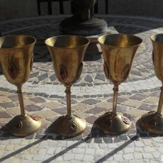 Antigüedades: 4 COPAS DE METAL. Lote 103768292