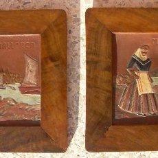 Antigüedades: PAREJA DE CUADRITOS EN PIEL REPUJADA Y MARCO DE MADERA. FIGURAS TRAJE TÍPICO DE MALLORCA.AÑOS 40-50. Lote 103776543
