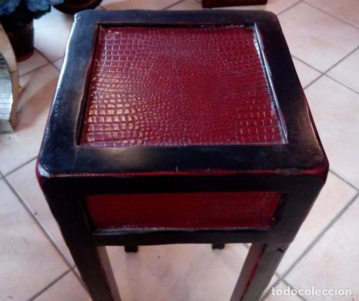 Antigüedades: PEANA - PEDESTAL CHINO EN MADERA LACADA - ALTURA 81 CM - Foto 2 - 103793031