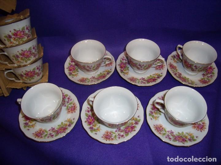 Antigüedades: Juego de merienda porcelana China,12 servicios, filo oro,años 70, Nuevo. - Foto 3 - 103828839