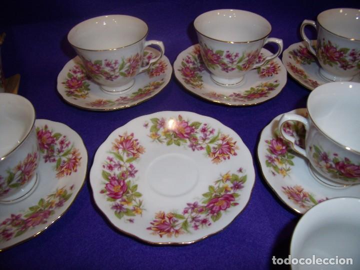 Antigüedades: Juego de merienda porcelana China,12 servicios, filo oro,años 70, Nuevo. - Foto 4 - 103828839