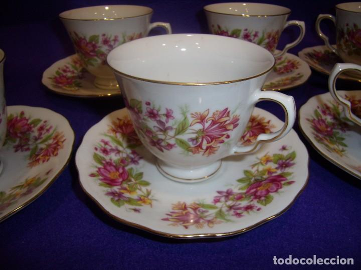 Antigüedades: Juego de merienda porcelana China,12 servicios, filo oro,años 70, Nuevo. - Foto 5 - 103828839