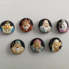 Antigüedades: ANTIGUA Y MUY RARA COLECCION DE SIETE PRECIOSOS BOTONES DE PORCELANA - TOSHIKANE - BOTONES JAPONESES. Lote 103839083