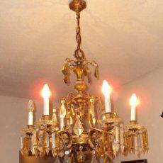 Antigüedades: LAMPARA DE BRONCE Y CRISTAL TALLADO. Lote 103870619
