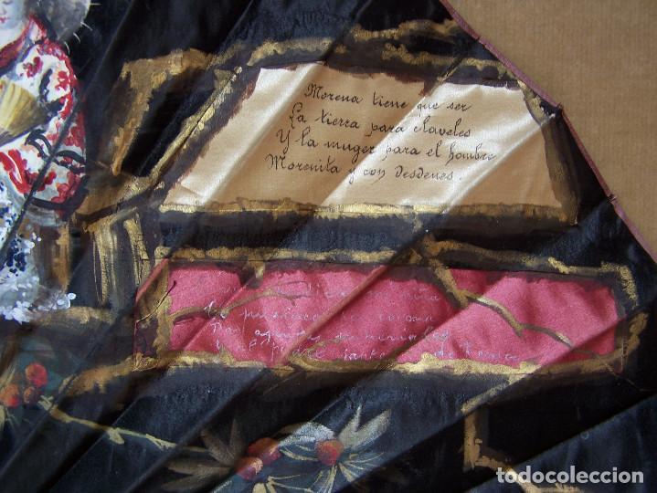 Antigüedades: Abaniquera con abanico (Pericón). Lleva escrito un poema piropo. - Foto 3 - 103872951