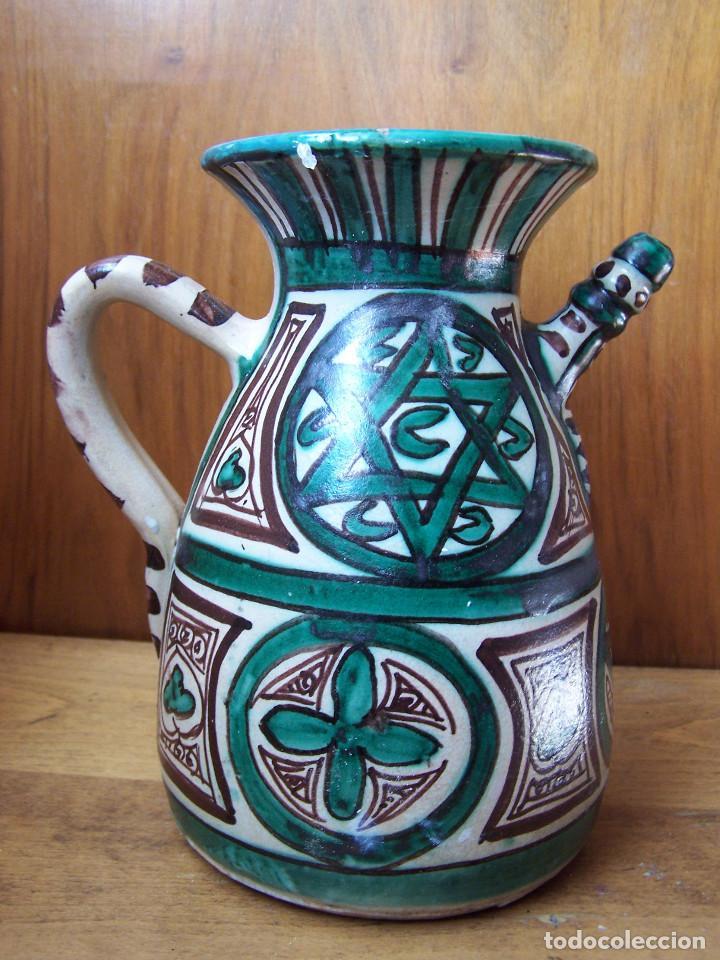 Antigüedades: Jarra de cerámica con pitorro de Teruel, marcada Punter. Altura: 22 cm, - Foto 2 - 103874503