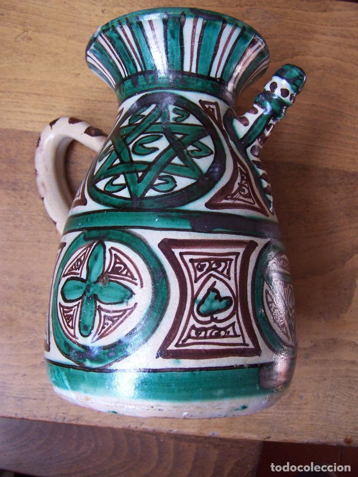 Antigüedades: Jarra de cerámica con pitorro de Teruel, marcada Punter. Altura: 22 cm, - Foto 4 - 103874503