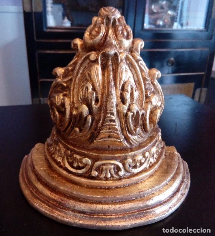 MENSULA - PEANA DE ESTUCO Y PAN DE ORO. (Antigüedades - Muebles Antiguos - Ménsulas Antiguas)