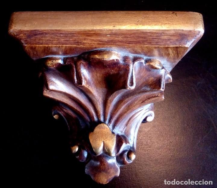 Antigüedades: ANTIGUA MENSULA - PEANA DE MADERA Y PAN DE ORO. - Foto 3 - 103891903