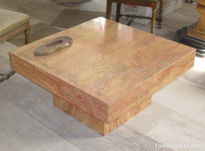 mesa baja de cafe en marmol travertino rojo tur - Comprar Mesas ...