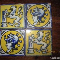Antigüedades: CONJUNTO DE CUATRO AZULEJOS OLAMBRILLAS PINTADAS. Lote 103970823