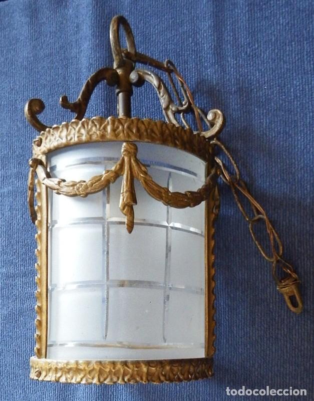 LÁMPARA DE TECHO EN BRONCE MODERNISTA (Antigüedades - Iluminación - Lámparas Antiguas)
