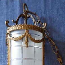 Antigüedades: LÁMPARA DE TECHO EN BRONCE MODERNISTA . Lote 103975691