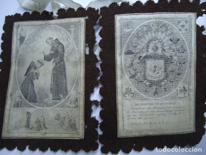 MUY ANTIGUO ESCAPULARIO BENEDICTO S.P. FRANCISCI (Antigüedades - Religiosas - Escapularios Antiguos)