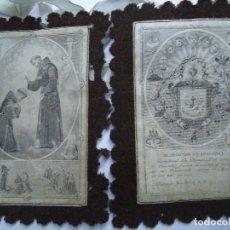 Antigüedades: MUY ANTIGUO ESCAPULARIO BENEDICTO S.P. FRANCISCI. Lote 147586858
