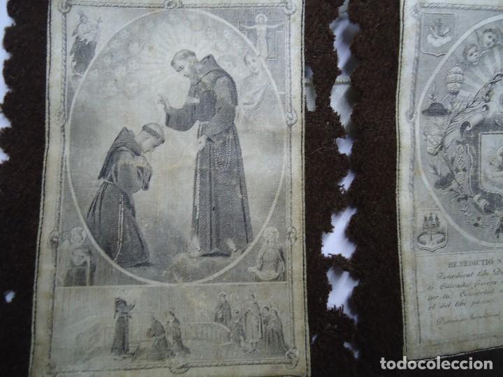 Antigüedades: MUY ANTIGUO ESCAPULARIO BENEDICTO S.P. FRANCISCI - Foto 3 - 147586858