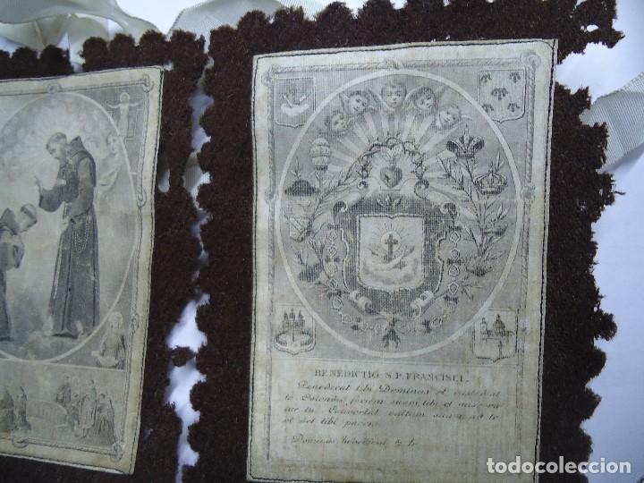 Antigüedades: MUY ANTIGUO ESCAPULARIO BENEDICTO S.P. FRANCISCI - Foto 5 - 147586858