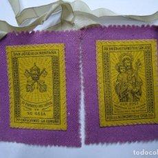 Antigüedades: MUY ANTIGUO ESCAPULARIO SAN JOSE DE LA MONTAÑA PP.CAPUCHINOS LA CORUÑA. Lote 103977531