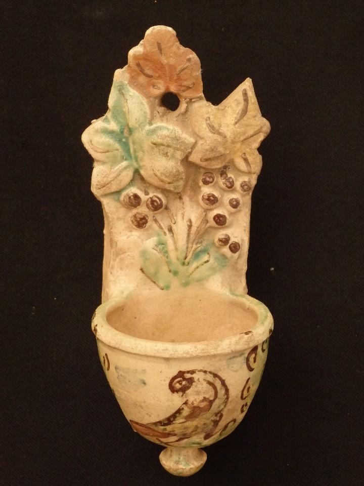 Antigüedades: Benditera en cerámica de Talavera o Puente del Arzobispo. Siglo XVII. - Foto 2 - 142787557