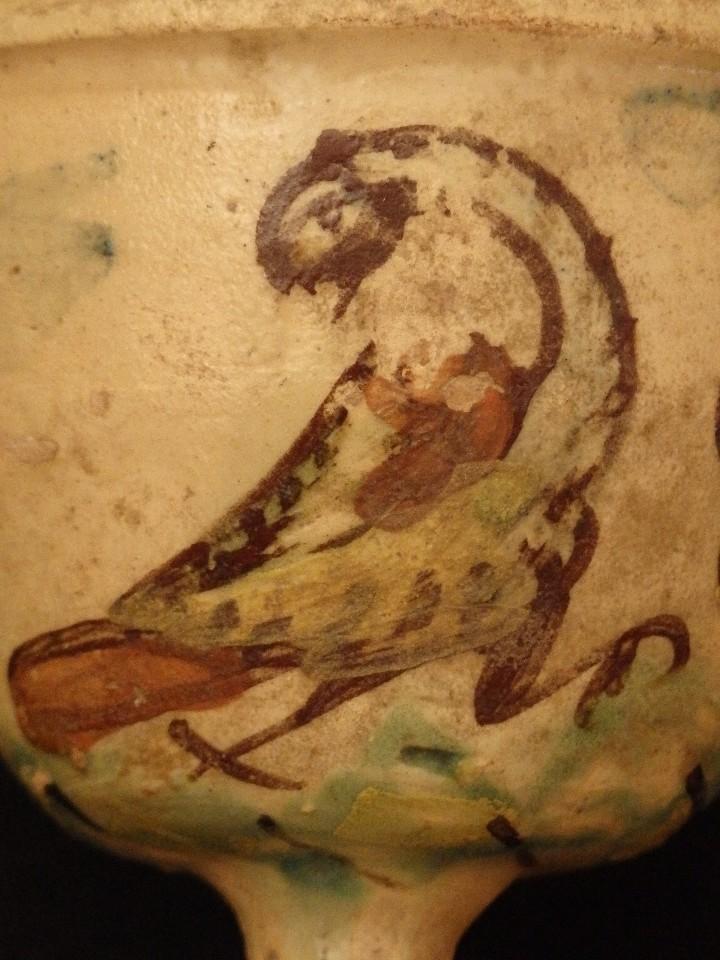 Antigüedades: Benditera en cerámica de Talavera o Puente del Arzobispo. Siglo XVII. - Foto 5 - 142787557
