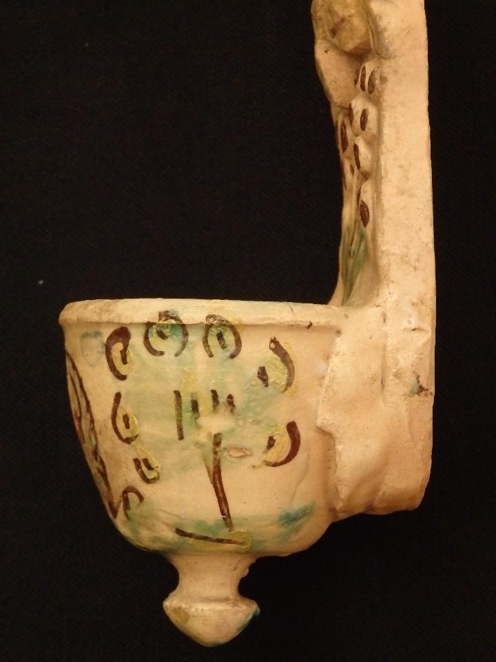Antigüedades: Benditera en cerámica de Talavera o Puente del Arzobispo. Siglo XVII. - Foto 9 - 142787557