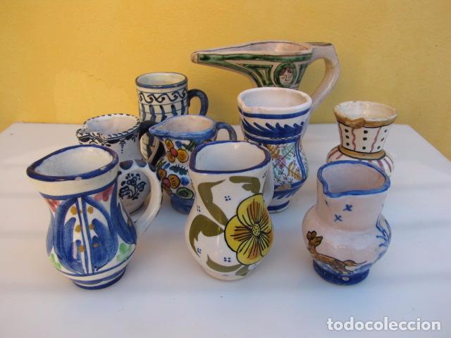COLECCIÓN DE 9 ANTIGUAS JARRITAS DE CERÁMICA: TALAVERA, MANISES Y TERUEL (Antigüedades - Porcelanas y Cerámicas - Manises)