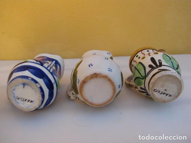 Antigüedades: Colección de 9 antiguas jarritas de cerámica: Talavera, Manises y Teruel - Foto 5 - 103996659