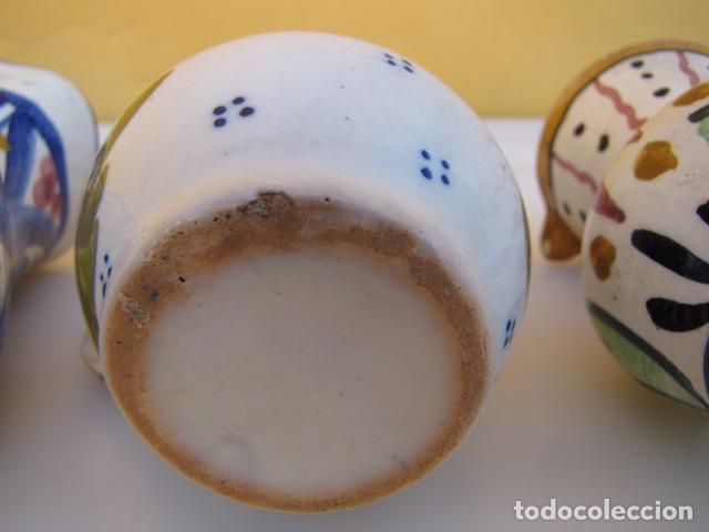 Antigüedades: Colección de 9 antiguas jarritas de cerámica: Talavera, Manises y Teruel - Foto 7 - 103996659